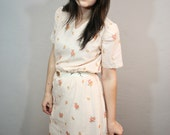 Vintage Day Dress / Sheer Pastel Dress / Floral Day Dress / 1970s