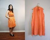 SALE / Vintage Dress / Textured Stripes / Tent Dress / 1980s