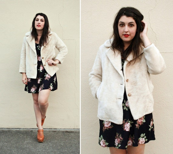 Vintage Cream Faux Fur Jacket - 1970s