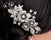 Bridal Hair Comb Pearl and Crystal Wedding Comb Silver  Bridal Head Piece Rose Wedding Hair Accessorises FAYE