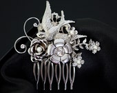 Bridal Hair Comb with Bird, flowers and rose  MINETTA