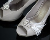 Feather Shoe Clips for Your wedding Shoes, rhinestone and pearl , Original Design.