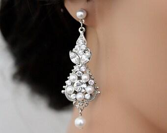 White Pearl Wedding Earrings Vintage Bridal earrings Swarovski Crystal Wedding Jewelry PARIS