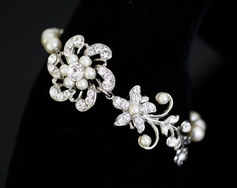 Bridal Bracelet Pearl Crystal Wedding Bracelet Rhinestone Flower Vine Bridal Bracelet Vintage Wedding Jewelry  SABINE FINE