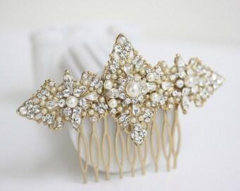 Gold Bridal Hair Comb  Filigree Wedding Head Piece, Vintage Pearl Veil Comb, Wedding Hair Accessories, MARCELLA COMB