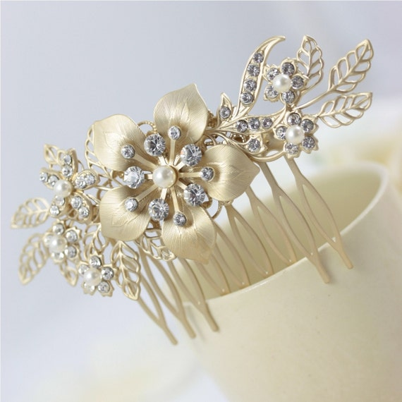 Floral Hair Piece, Gold Hair Comb, Wedding Hair Accessory, Flower Comb, GAEA