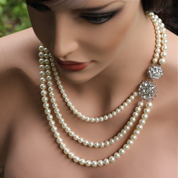 Long Ivory Pearl Bridal Necklace Swarovski Rhinestone  Beautiful Cecily. Made to order for you 3-4 weeks turnaround.