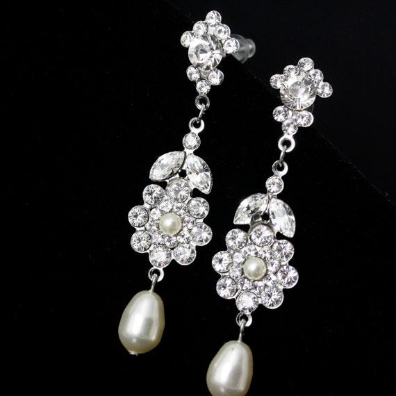 Long Wedding Earrings, Swarovski Crystal Rhinestone, Ivory Pearl, GEMMA