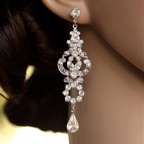 Rhinestone Chandelier Earrings Long Bridal Earrings Art Deco