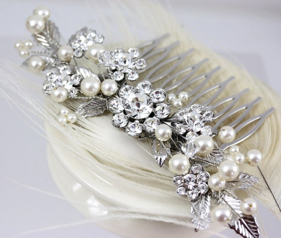 Bridal hair comb, Ivory Pearl and rhinestone with leaves, pearl beaded, Wedding Hair Accessories, Kai