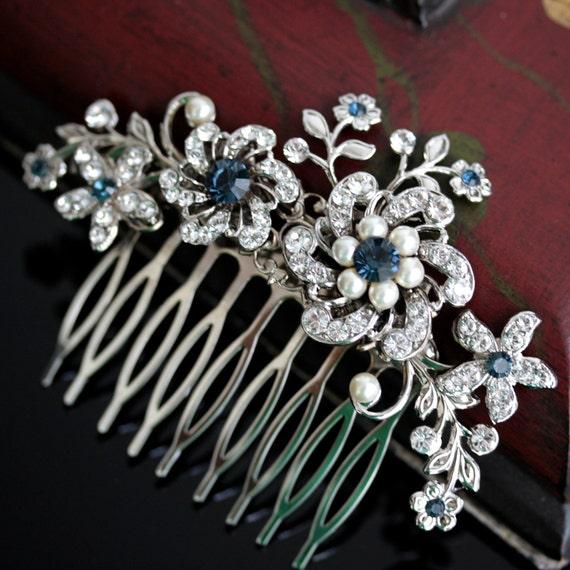 Wedding Hair Comb, Rhinestone flowers and vintage leaves, Montana Blue SABINE