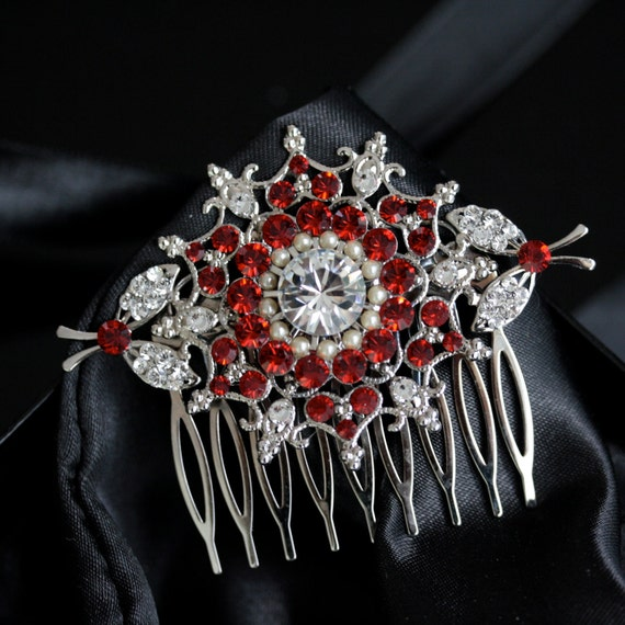 Bridal Hair Comb Swarovski Siam Ruby Red Crystal Vintage StyLe  Wedding Hair Accessories KIRRIE