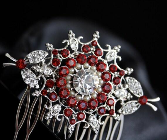 Bridal Hair Comb Swarovski Siam Ruby Red Crystal Vintage StyLe  Wedding Hair Accessories KIRRIE