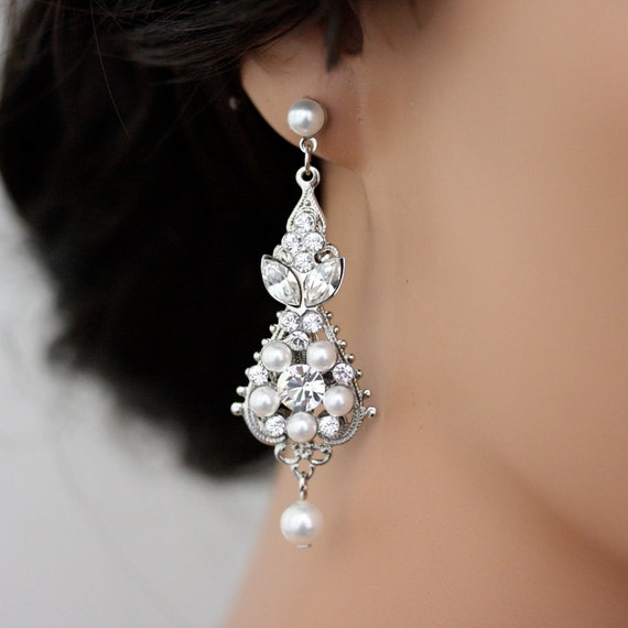 White Pearl Wedding Earrings Vintage Bridal earrings Swarovski Crystal Wedding Jewelry PARIS