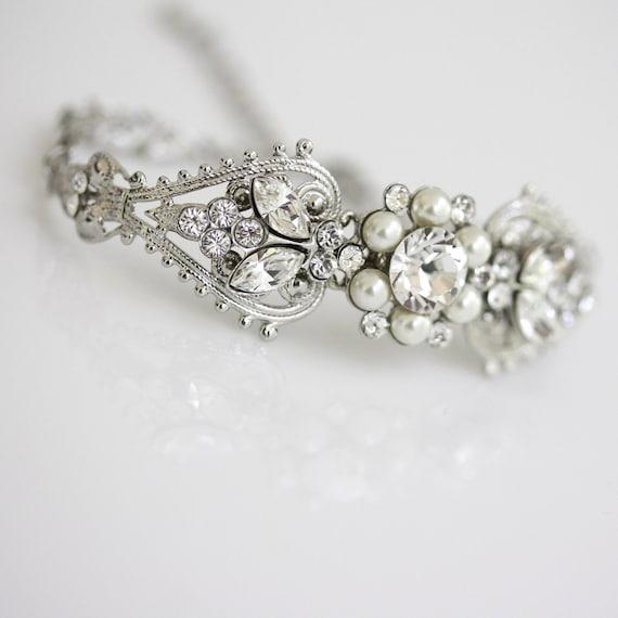 Bridal Crystal Cuff Bracelet Rhinestone Pearl Bridal Wedding Bracelet Silver Filigree Bracelet Vintage Bridal Jewelry PARIS CUFF BRACELET
