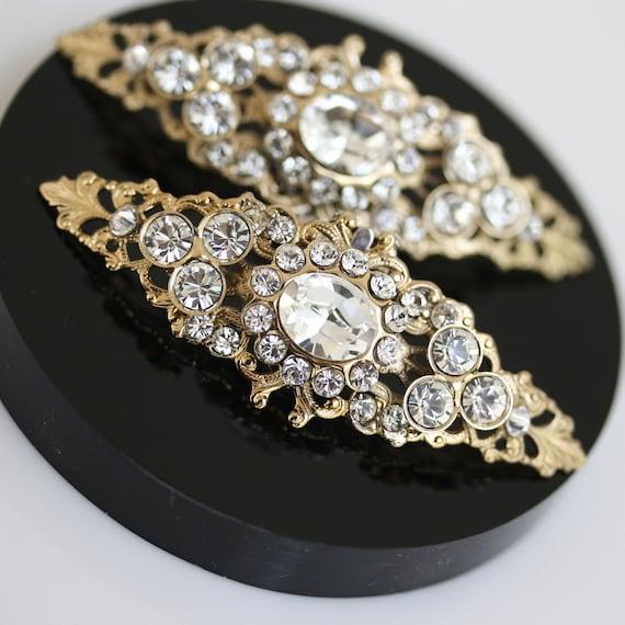 Wedding Shoe Clips, Rhinestone Shoe Clips, Gold Shoe Clips, Wedding Accessories, CRYSTAL