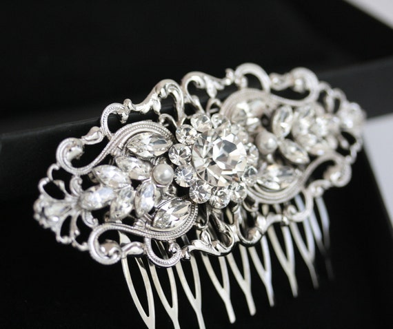 Art Deco Bridal Hair Comb, Filigree Wedding Comb, Vintage Wedding Hair Accessories, Pearl and Rhinestone Hair Piece. BELLA 2
