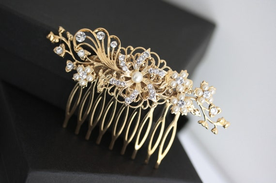 Gold Wedding Hair Accessories Flower hair comb Gold Bridal Comb Swarovski Rhinestone White Ivory pearl Vintage Wedding EMILY
