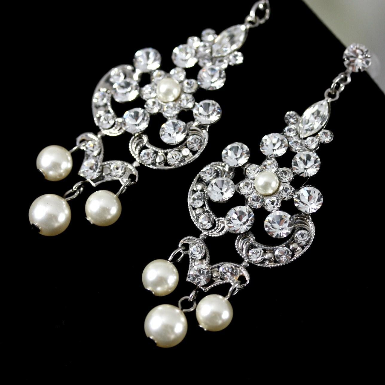Rhinestone Pearl Chandelier Earrings Swarovski Crystals And