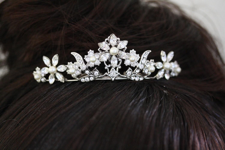small tiara pearl and rhinestone tiara veil hair comb