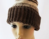 Crocheted Brown Wool Hat. Tan. Unisex.