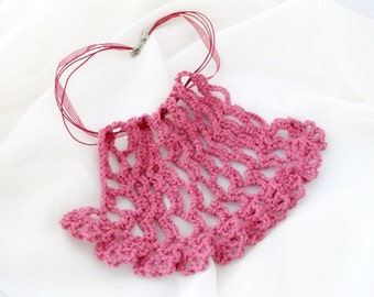 Ruffled Bib Crochet Necklace. Pink. Ribbon.