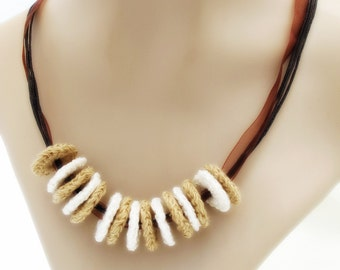 Tan and Ivory Necklace. Loops. Jewelry. Brown. Pay It Forward.