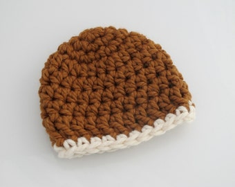 Crocheted Chunky Baby Hat. Brown. Beanie.