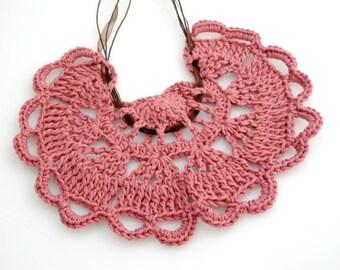 Crocheted Collar Bib Necklace. Mauve. Heart.