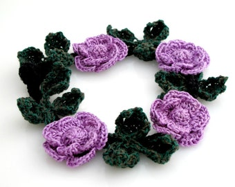Crocheted Lavender Roses Necklace. Flower. Choker.