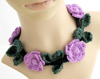 Crocheted Lavender Roses Necklace. Flower. Choker.