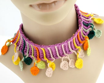 Crocheted Leaf Scarflette Necklace. Jewelry. Multicolored.