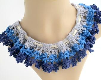 Blue Ruffle Collar Necklace. Organic. Crochet.