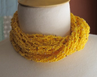 Lacy Yellow Beaded Scarf. Crochet. Necklace.