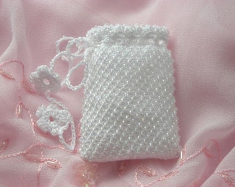 Bridal Crystals Keepsake Pouch. White. Beaded.