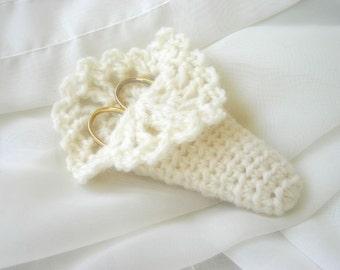Crocheted Ivory Scissors Case. Cozy. Wool.