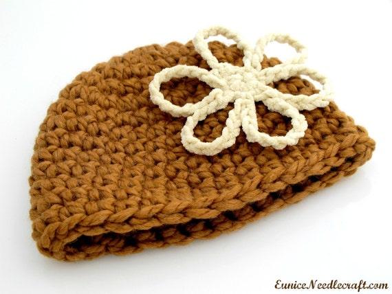 Crocheted Flower Toddler Beanie. Hat. Brown.