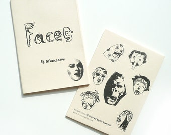 Hand printed zine- FACES (handmade zine)