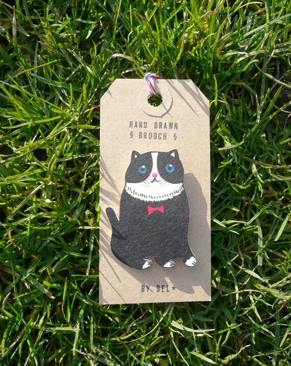 Charlie blue eyes / Black cat - hand drawn brooch