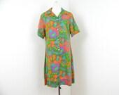 70s Print Dress Jungle Print Shirt Dress Safari Dress M