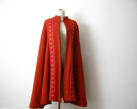 70s Orange Cape Coat Faux fur Lined XS S M L