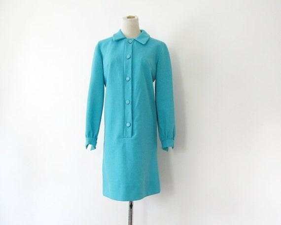 1960s Mod Dress Blue Aqua Mini Dress S M