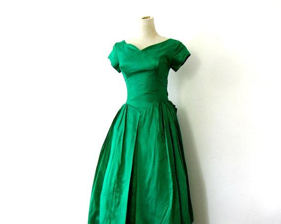 1960s Prom Dress Emerald Green Embossed Taffeta XXS XS