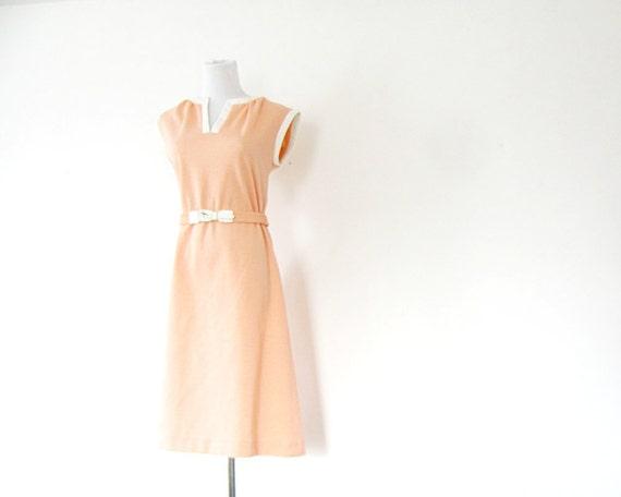 70s Peach Dress Spring day dress M