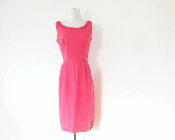 1950s Pink Dress 50s Day Dress Wiggle Dress XS S
