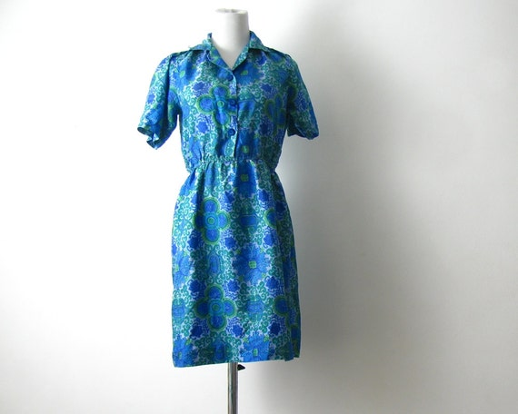 Vintage Day Dress Blue Green Sheer Print Dress XS S 70s Spring Dress