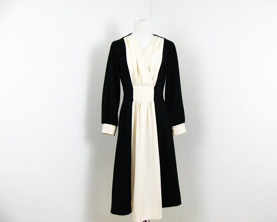 1960s Cocktail Dress Black and Cream Party Dress S
