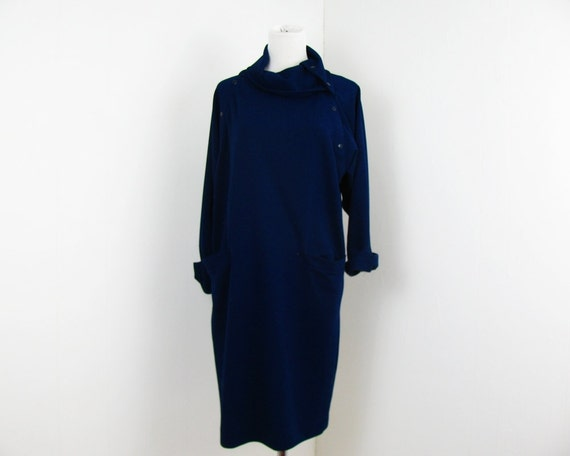 70s Blue Dress Autumn Dress M L Roll Neck