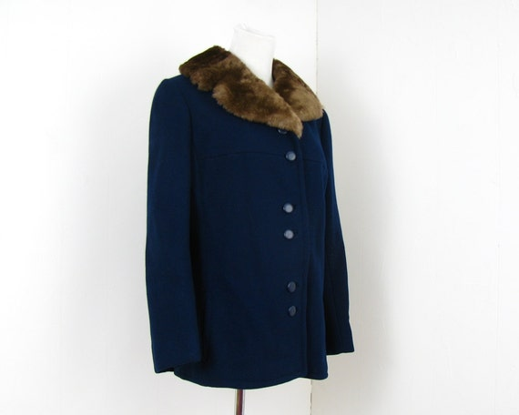 Reserved 1960s Wool Jacket Fur Collar Short Coat S M Navy Blue