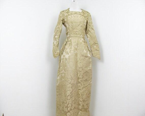 60s Brocade Dress Pale Gold Evening Dress XS S TLC